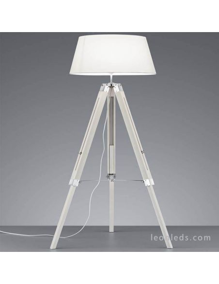 Lámpara de pie Tripode Blanca y Madera Tripod R40991001 Trio Lighitng | LeonLeds Iluminación