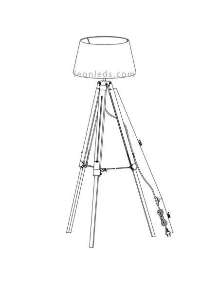 Cable de Lámpara de pie Tripode Blanca y Madera Tripod R40991001 Trio Lighitng | LeonLeds Iluminación