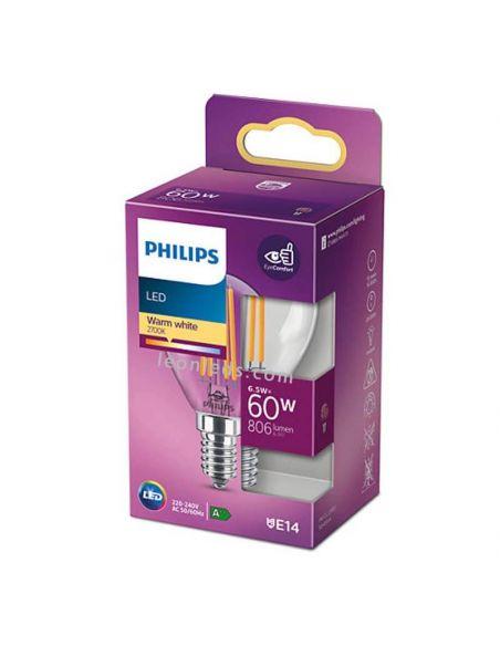 Bombilla E14 P45 de filamento LED 6.5W - 60W Philips 8718699762292 |  LeonLeds