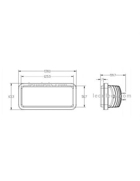 Dimensiones Faro LED Empotrable Jonh Deere Serie 00 y 10 60w 3500Lm  la1002 Agropar | LeonLeds