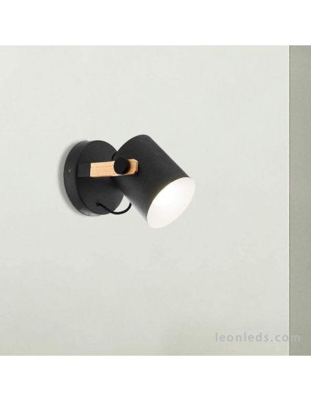Aplique de pared madera y negro Hornwood Eglo | LeonLeds