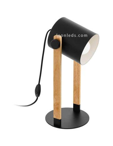 Lámpara sobremesa negra y madera Hornwood | LeonLeds
