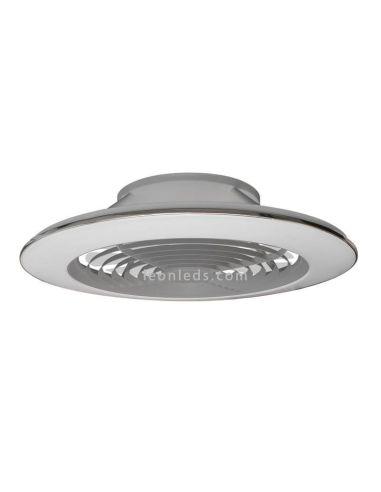 Ventilador de techo LED plateado con mando a distancia y App Alisio XL Mantra   LeonLeds