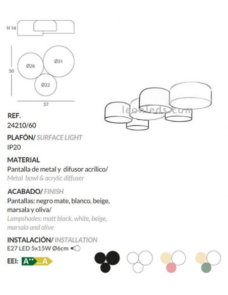 Ficha técnica de Plafón de techo blanco, oliva y beige Pot Ole By FM Iluminación   LeonLeds