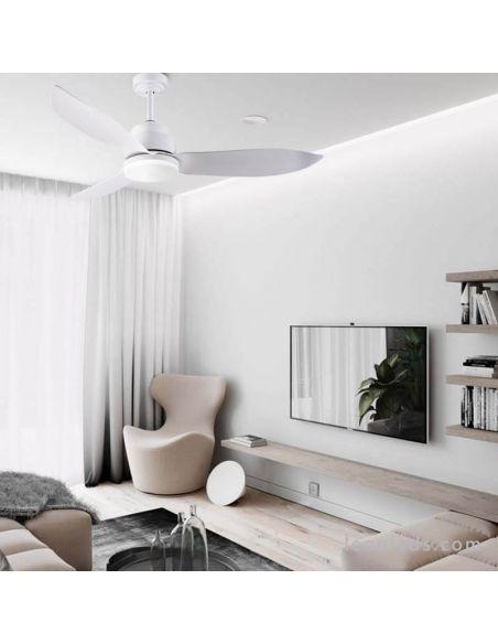 Ambiente Ventilador de Techo LED con Wifi Google Home y Alexa Woka Wifi Blanco Sulion   LeonLeds