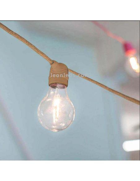 Set 3 Guirnaldas LED Allegra jute con cable 8m New Garden | LeonLeds Iluminación