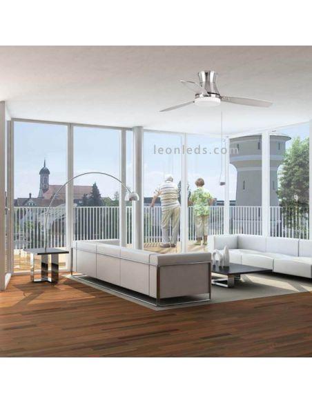 Ventilador de techo de color Gris y Caoba | LeonLeds Ventiladores con Luz