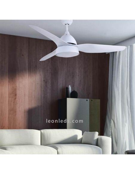 Ventilador de techo con luz Autan DC blanco foto de ambiente DC094692301   LeonLeds Iluminación