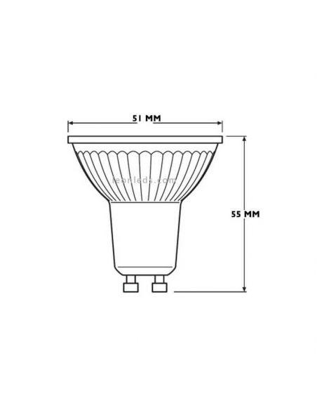Bombilla LED GU10 Regulable 120º 8,3W Pharatom dimensiones