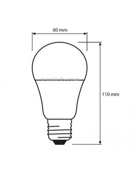 Dimensiones de Bombilla LED con sensor crepuscular 2.700K 9W Reemplazo 60W  | LeonLeds Iluminación
