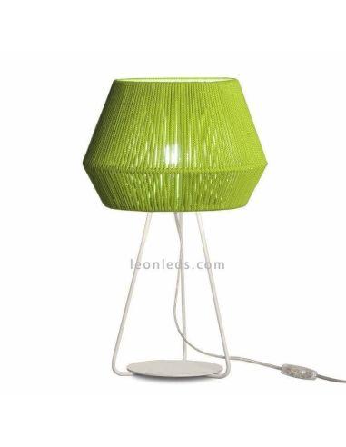 Lámpara de sobremesa Banyo cuerda personalizable trípode blanco 1xE27 | LeónLeds Iluminación | verde