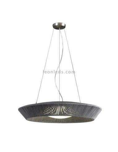 Lámpara colgante circular de cuerda personalizable 75Cm Banyo 3xE27   LeónLeds Iluminación   Techo gris
