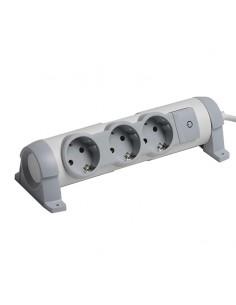 Base Multiple Legrand 3 Enchufes Confort Con cable y interruptor Gris y Blanca con opción para sujetar en pared o mesa con torni