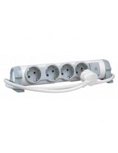 Base Multiple Legrand con Cable 4 tomas blanco y gris de calidad Confort con posibilidad de sujetar a la pared o mesa | LeonLeds