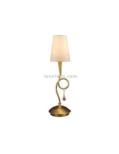 Lámpara de Sobremesa Dorada Clásica serie Paola 1XE14 Mantra Iluminación | LeonLeds Iluminación