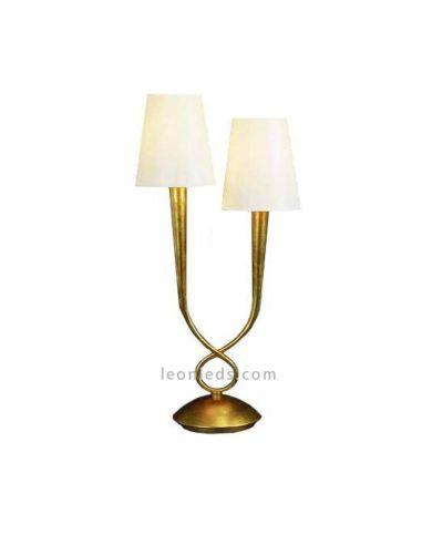 Lámpara de Sobremesa tamaño Grande Dorada Clásica Paola bombillas 2XE14 Mantra | Leonleds Lámpara de Sobremesa