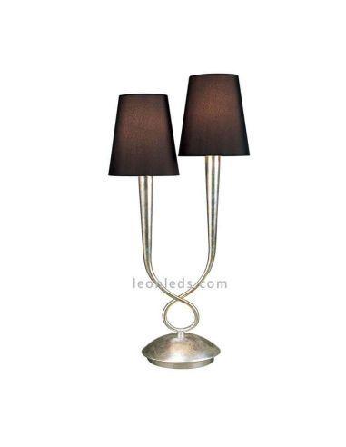 Lámpara de Sobremesa Plateada Grande Clásica serie Paola bombillas 2XE14 Mantra | LeonLeds Iluminación