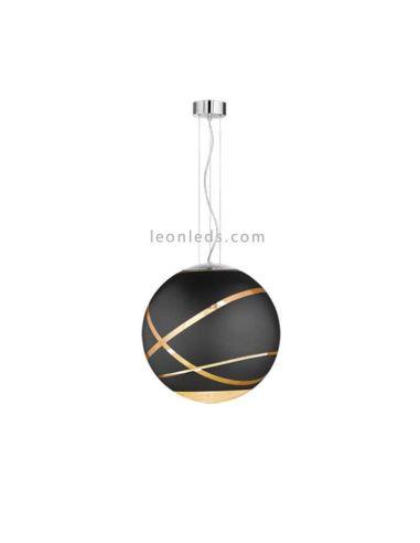 Lámpara de Techo serie Faro Grande color Negra/Oro Cromo 50Cm 1XE27 | LeonLeds Iluminación