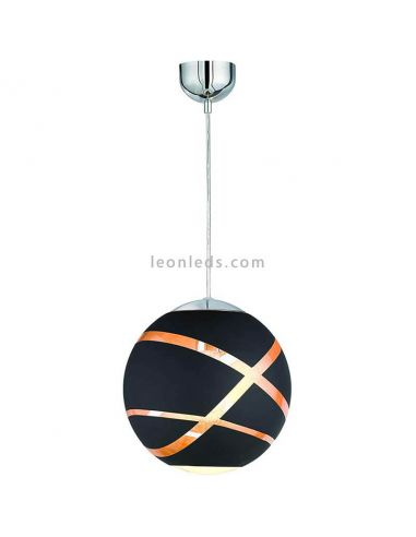 Lámpara de Techo serie Faro Pequeña color Negra/Oro Cromo Ø30Cm 1XE27   LeonLeds Iluminación