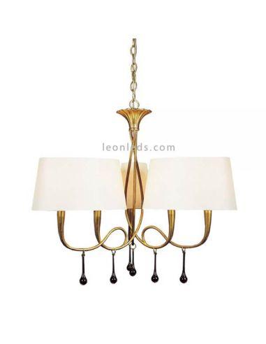 Lámpara de techo estilo Clasico de la serie Paola dorada Mantra Iluminación   LeonLeds Iluminación