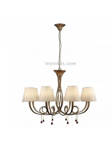 Lámpara de Techo araña dorada de estilo clásico Mantra Iluminación | LeonLeds Iluminación