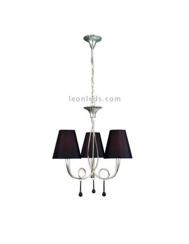 Lámpara de techo Clásica color Plateada y Negra serie Paola marca Mantra 3532   LeonLeds Iluminación