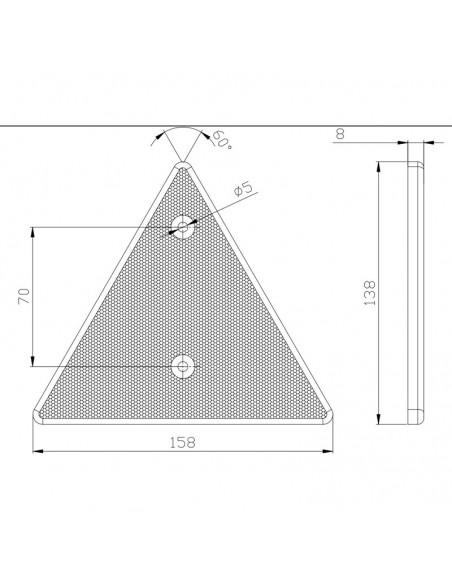 Dimensiones de Triangulo reflectante homologado para instalar con tornillos | LeonLeds Reflectantes para remolques