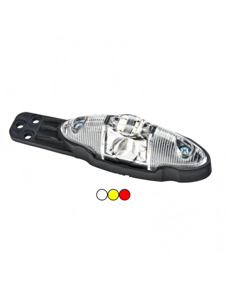 Piloto 3 Funciones Lateral LED con o sin soporte Blanco Ovalado 12v 24v Plataforma Remolque Agrícola | LeonLeds