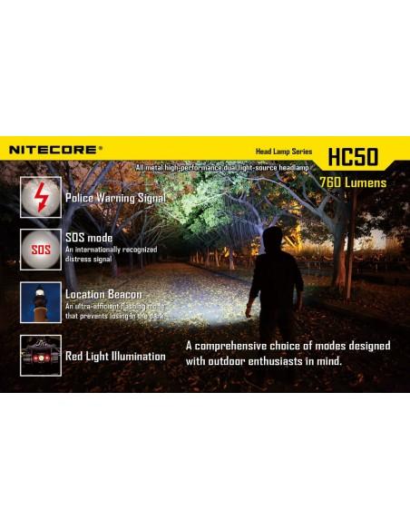 Linterna Frontal LED HC50 Nitecore Recargable de cabeza Sumergible | LeonLeds