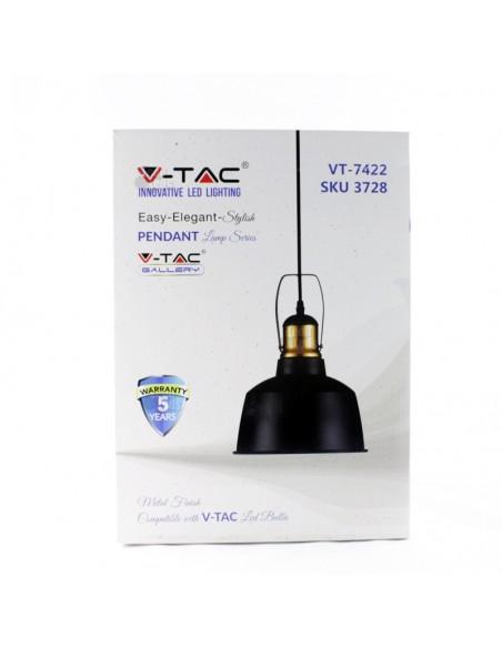 Lámpara de Techo de Suspensión Negra Dorada Vtac 3728 Regulable Altura | LeonLeds