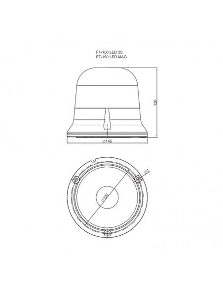 Rotativo LED Fristom FT150 3s Con cable Conexión con tornillos chip Cree Homologado Hermetico   LeonLeds