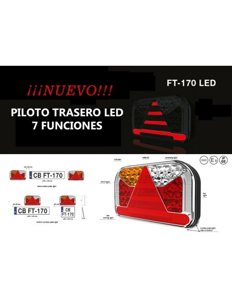 Piloto Trasero Fristom LED 7 Funciones Triangulo 12/24V  Fristom FT170 Camión Remolque Agrícola| LeonLeds Iluminación