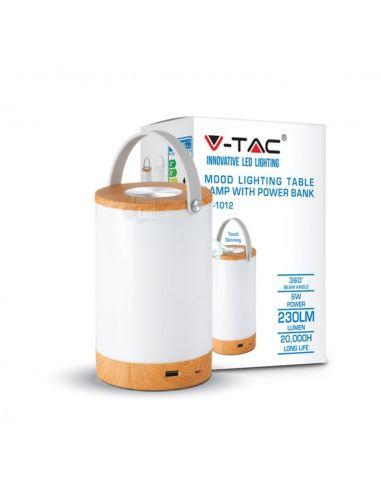 Lámpara Mesa Sobremesa Portatil Recargable LED Madera y Blanca Power Bank USB Dimmable intensidad regulable | LeonLeds