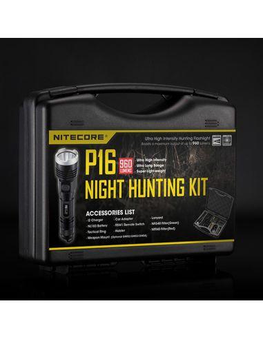 Kit Caza de maletin con Linterna LED y accesorios bateria cargador pulsador y filtros | LeonLeds Iluminación