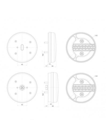 Piloto Trasero LED 3 Funciones 12/24V