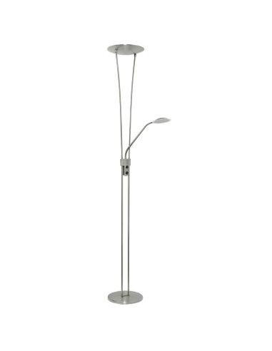 Lámpara de Pie de Salón Maribel de 18w 6w con brazo de lector LED Niquel o Cuero Intensidad regulable | LeonLeds