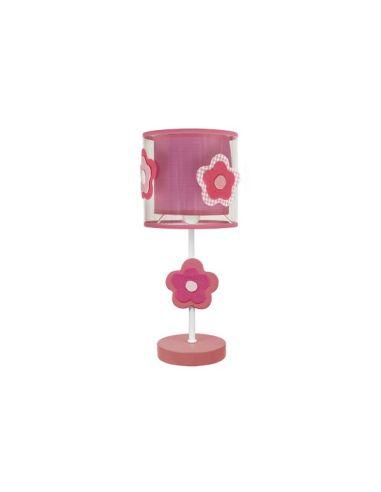 Lampara Sobremesa Infantil y Juvenil Serie Flor Color Rosa Flores   LeonLeds