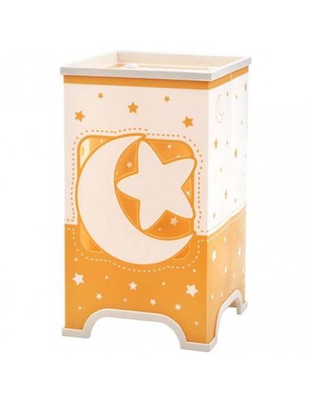 Lampara de Sobremesa LED Infantil Moon Light Naranja y blanca y Juvenil 63230J con estrellas y lunas reflectantes | LeonLeds