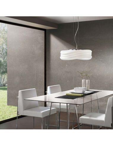 Lámpara de Techo serie Mediterráneo Mantra 37Cm de diámetro regulable en altura olas cristal metal | LeonLeds