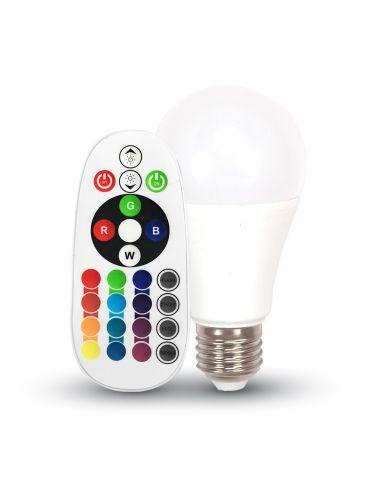 Bombilla LED E27 RGB | Bombilla LED con mando a distancia RGB | Bombilla LED RGB A60 E27 | LeonLeds Iluminación