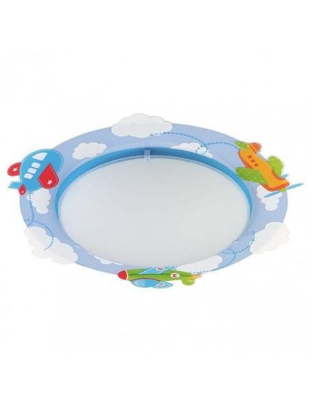 Plafón de Techo Infantil serie Baby Planes 61206 dalber Redondo Juvenil Azul nuves | LeonLeds