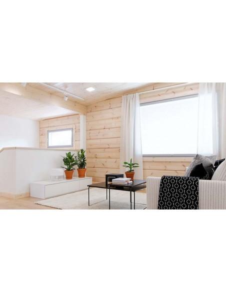 Downlight LED Quad Glass 3 instalado en un salón con un estilo moderno y tonalidades claras de la marca Arkos Light | LeonLeds