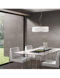 Lámpara de Techo Regulable en altura cristal opaco Colgante serie Mediterraneo 3620 Mantra 50 cm de diametro | LeonLeds