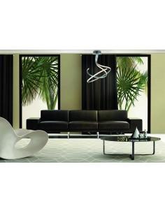 Lámpara Suspendida de Techo Serie Nur 4981 4998 Dimmable Intensidad Regulable Plata Cromo Diseño Actual Doble | LeonLeds