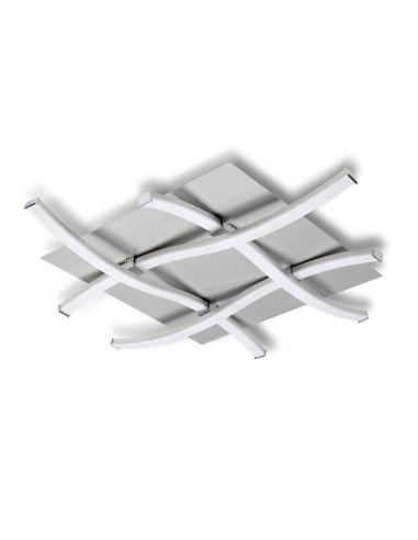 Plafón de Techo LED Serie Nur 34W 3000k 4984 4999 Dimmable Intensidad Regulable Cromo Plata Cuadrado Diseño   LeonLeds