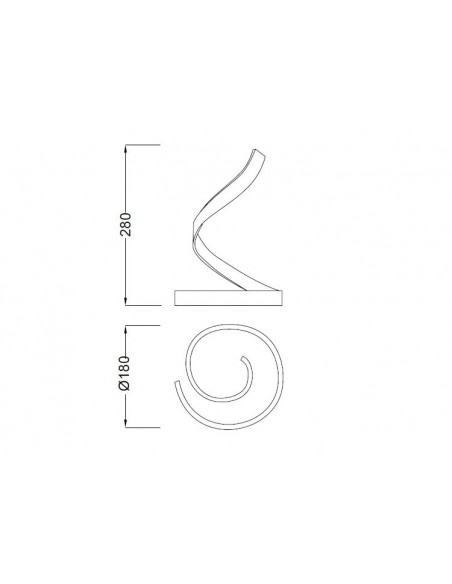 Lámpara LED de Sobremesa Serie Nur 15W  4986 Simple Plata Cromo Espiral Diseño Actual | LeonLeds