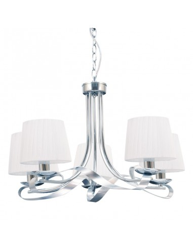 Lámpara de Techo Blanco/Cromo 5 Tulipas Serie Cleveland 067555020 | LeonLeds
