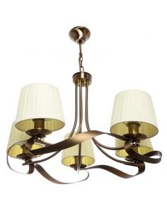 Lámpara de Techo Beis Cuero 5 Tulipas Serie Cleveland 067555014  | LeonLeds