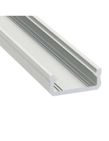 Perfil modelo D de superficie color aluminio y difusor mate escaleras paredes | LeonLeds