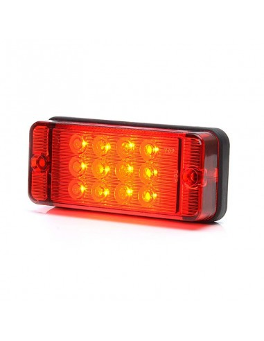 Piloto Antiniebla LED Rectangular Tapa Roja 12/24V Tulipa Roja luz Roja Homologado   LeonLeds
